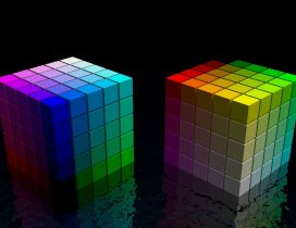 Colorful 3D cubes wallpaper