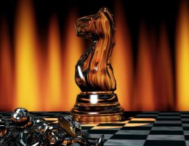 Brown chess piece on the chessboard