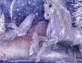 A white unicorn and dove and two swans on the water