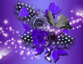 Purple artistic image with flowers and butterflies
