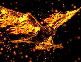 Fire eagle - Abstract eagle wallpaper