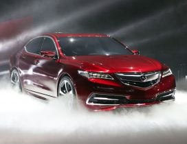 Red Acura TLX car at presentation