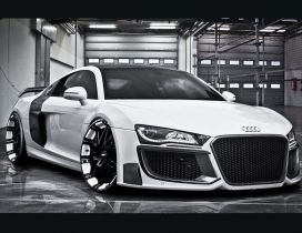 White Audi R8 altered tuning in the garage