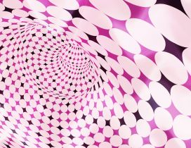 Pink tunnel with white bubbles - Design wallpaper