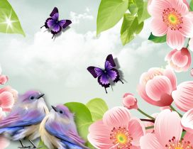Two sweet birds and two butterflies between pink flowers
