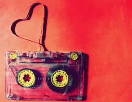 A heart made of band of cassette - Love music