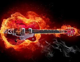 A guitar in flames - Rock music guitar