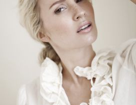 Tess Montgomery a Swedish model with white shirt