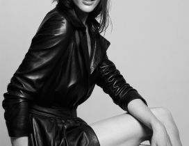 Hilary Rhoda an American model in black