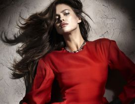 Irina Shayk a Russian model in red