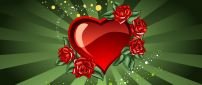 Heart and red rose - Love wallpaper