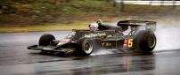 Formula 1 car in race on the road