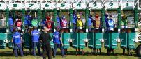 Horses ready for start, horses racing
