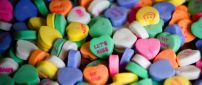 Colorful heart candies with message