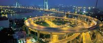 Nanpu Bridge and Spiral Road with many lights
