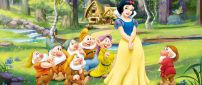 Snow White and the seven dwarfs - 3D wallpaper