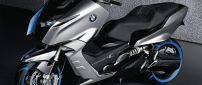 BMW Concept C - Black Scooter with blue lights