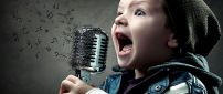 A child sings at the microphone - Abstract music