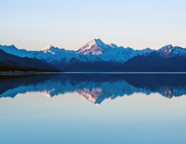 Mountain peaks reflected in the lake water