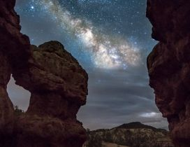 Milky Way is seen among the rocks
