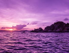 Purple landscape - Sunset over the sea