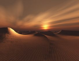 Sunset over the desert - Dark sky wallpaper