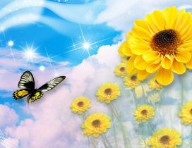Digital wallpaper - butterfly and sunflowers