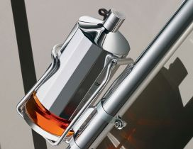 Bike flask - Silver glass and support for bike
