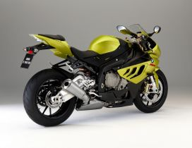 Yellow and black BMW S 1000 RR Bike