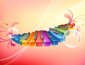 Colored piano - Graphic fantasy wallpaper
