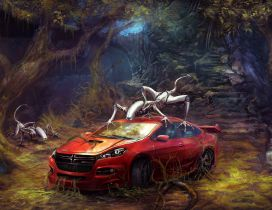Fantastic forest with fantasy creatures and a red car