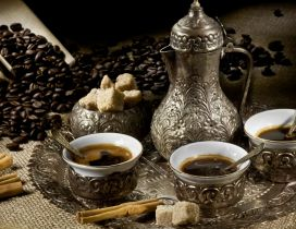 Turkish coffee in silver cup - HD wallpaper