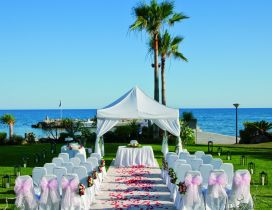 A green field on the shore of sea arranged for the wedding