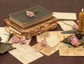 A old book, two candles and pink roses - Vintage wallpaper