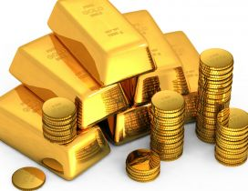 Gold ingots and gold coins