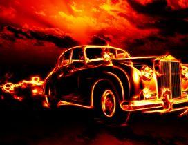 Vintage car in flames - Dark wallpaper