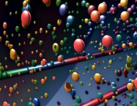 Many colorful balls in the air - 3D wallpaper