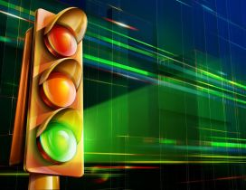Green color on the 3D traffic light
