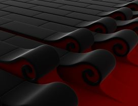 Abstract 3D black and red waves