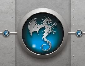 3D blue dragon logo on the gray wall