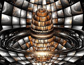 Abstract 3D temple made of glass