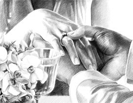 Wedding drawing - The hands of a couple