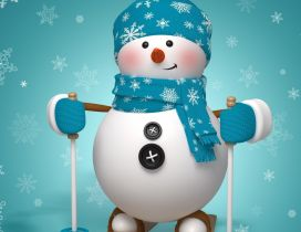 A snowman ready to ski - Funny wallpaper