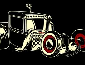 Drawing with a black vintage car - HD car wallpaper