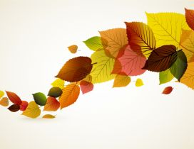 Abstract autumn leaves - Colored line