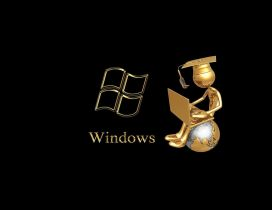Golden windows wallpaper - A student on a globe