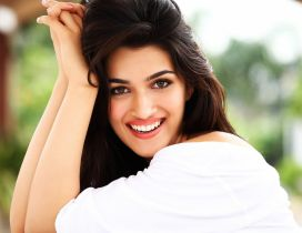 Kriti Sanon in white shirt and with a smile on her face