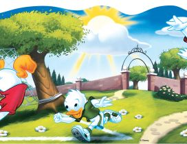 Tick, Trick, Track and Donald Duck play football