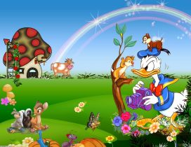 Nervous Donald Duck and many animals in the garden