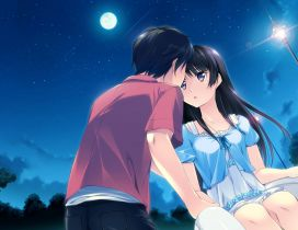 Anime couple during the night under the moonlight
